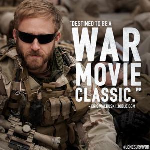 Ben Foster as Matt Axelson in the film Lone Survivor.  Photo from the Lone Survivor Facebook page.