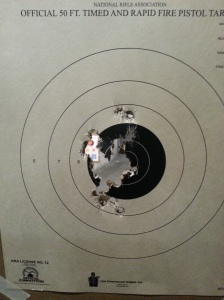 Basic grouping at 25' shooting off-hand.  This shotgroup would improve dramatically with a sharper trigger.