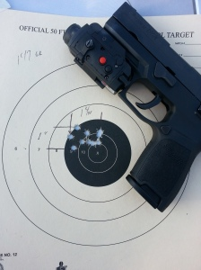 "One of the targets used by the author during accuracy testing.  Most groupings were under 1.5"" at 25 feet firing offhand."