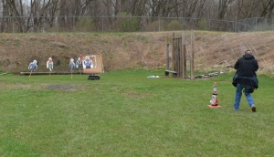 """The author approaching a group of IDTS targets during a """"shoot and move"""" portion of the training course."""