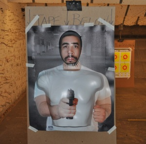 The IDTS target taped to common range cardboard.