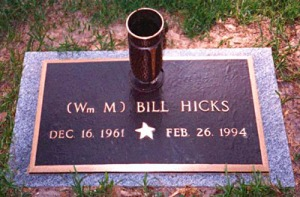 The grave marker where Bill Hicks is buried in Mississippi.