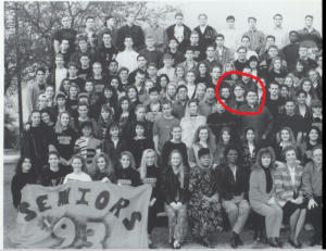 The Class of 1993 group photo with who I suspect is Alex Jones circled.  Jones is listed among the names at the bottom of the photograph but the students are not listed by location just alphabetically.